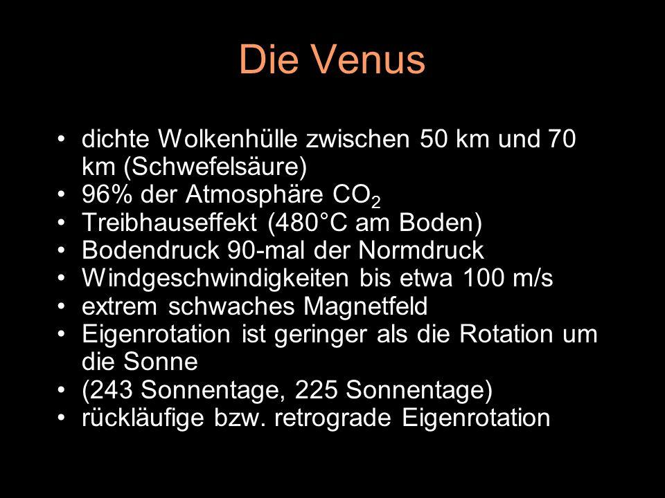Die Venus dichte Wolkenhülle zwischen 50 km und 70 km (Schwefelsäure) 96% der Atmosphäre CO 2 Treibhauseffekt (480°C am Boden) Bodendruck 90-mal der N