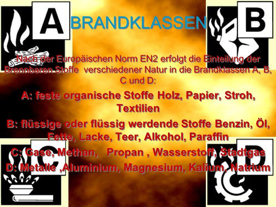 BRANDKLASSEN Nach der Europäischen Norm EN2 erfolgt die Einteilung der Brennbaren Stoffe verschiedener Natur in die Brandklassen A, B, C und D: A: fes