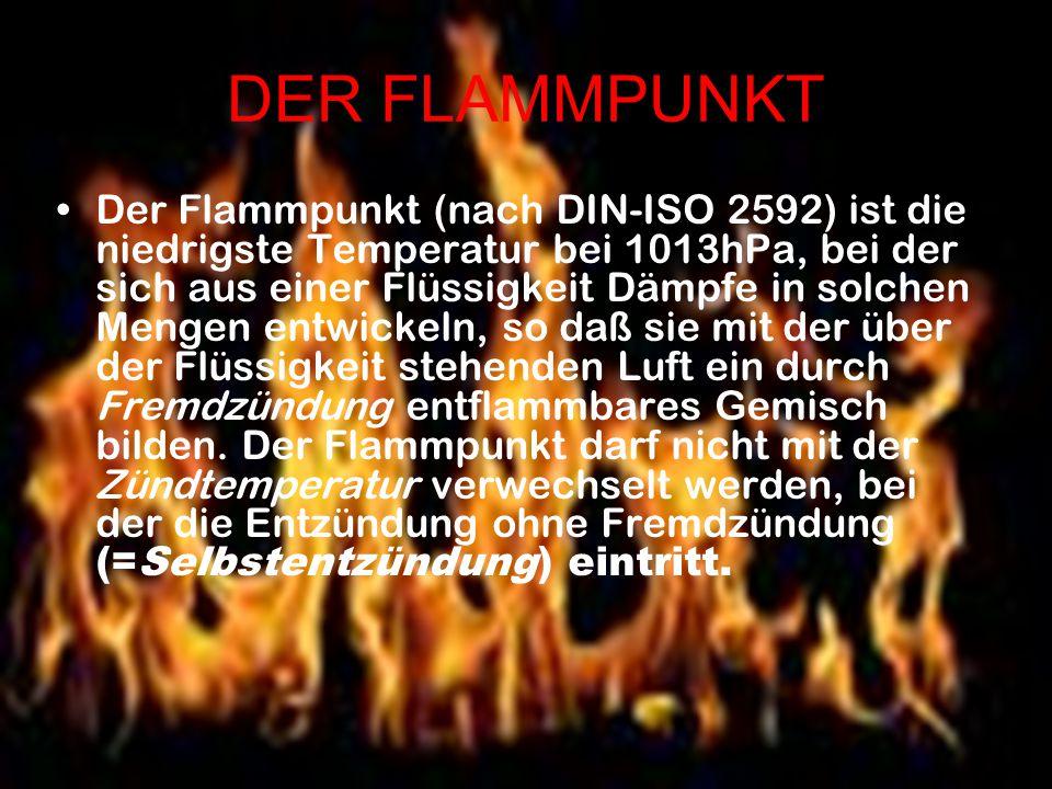 DER FLAMMPUNKT Der Flammpunkt (nach DIN-ISO 2592) ist die niedrigste Temperatur bei 1013hPa, bei der sich aus einer Flüssigkeit Dämpfe in solchen Meng