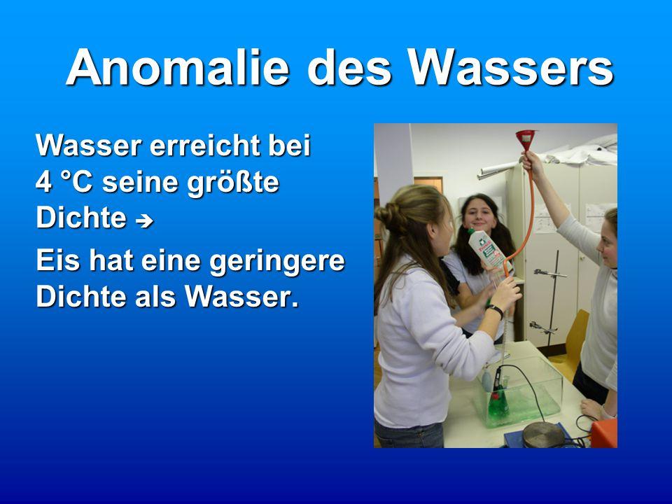 Anomalie des Wassers Wasser erreicht bei 4 °C seine größte Dichte  Eis hat eine geringere Dichte als Wasser.