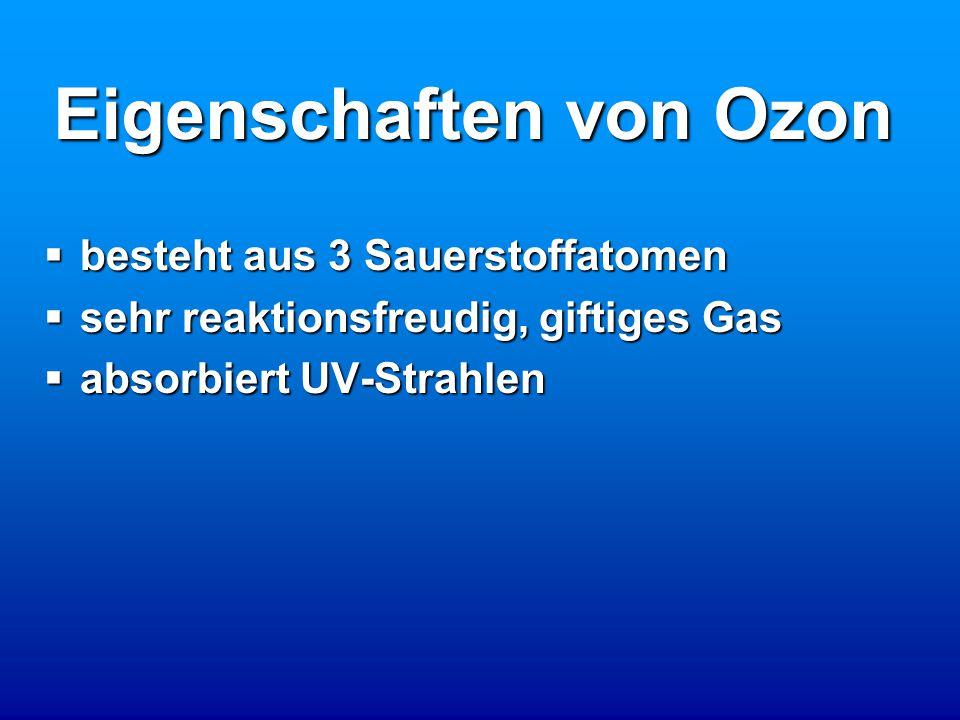 Eigenschaften von Ozon bbbbesteht aus 3 Sauerstoffatomen ssssehr reaktionsfreudig, giftiges Gas aaaabsorbiert UV-Strahlen