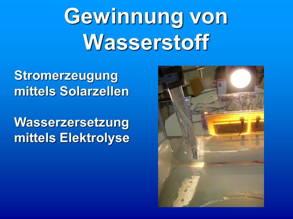 Gewinnung von Wasserstoff Stromerzeugung mittels Solarzellen Wasserzersetzung mittels Elektrolyse