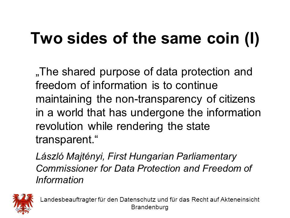 """Landesbeauftragter für den Datenschutz und für das Recht auf Akteneinsicht Brandenburg Two sides of the same coin (I) """"The shared purpose of data prot"""