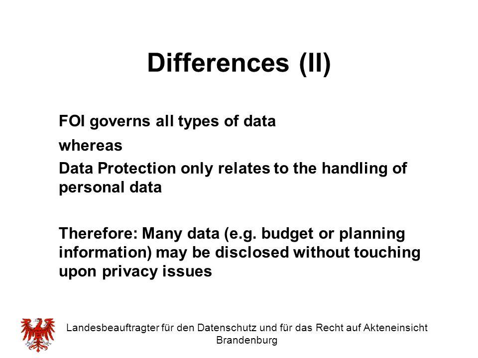 Landesbeauftragter für den Datenschutz und für das Recht auf Akteneinsicht Brandenburg Differences (II) FOI governs all types of data whereas Data Pro