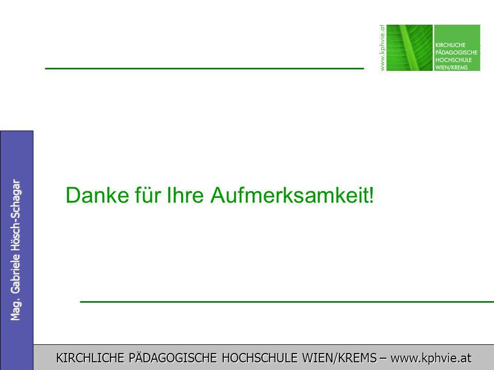 KIRCHLICHE PÄDAGOGISCHE HOCHSCHULE WIEN/KREMS – www.kphvie.at Mag. Gabriele Hösch-Schagar Danke für Ihre Aufmerksamkeit!