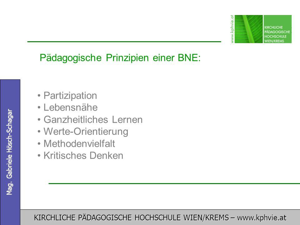 KIRCHLICHE PÄDAGOGISCHE HOCHSCHULE WIEN/KREMS – www.kphvie.at Mag. Gabriele Hösch-Schagar Pädagogische Prinzipien einer BNE: Partizipation Lebensnähe