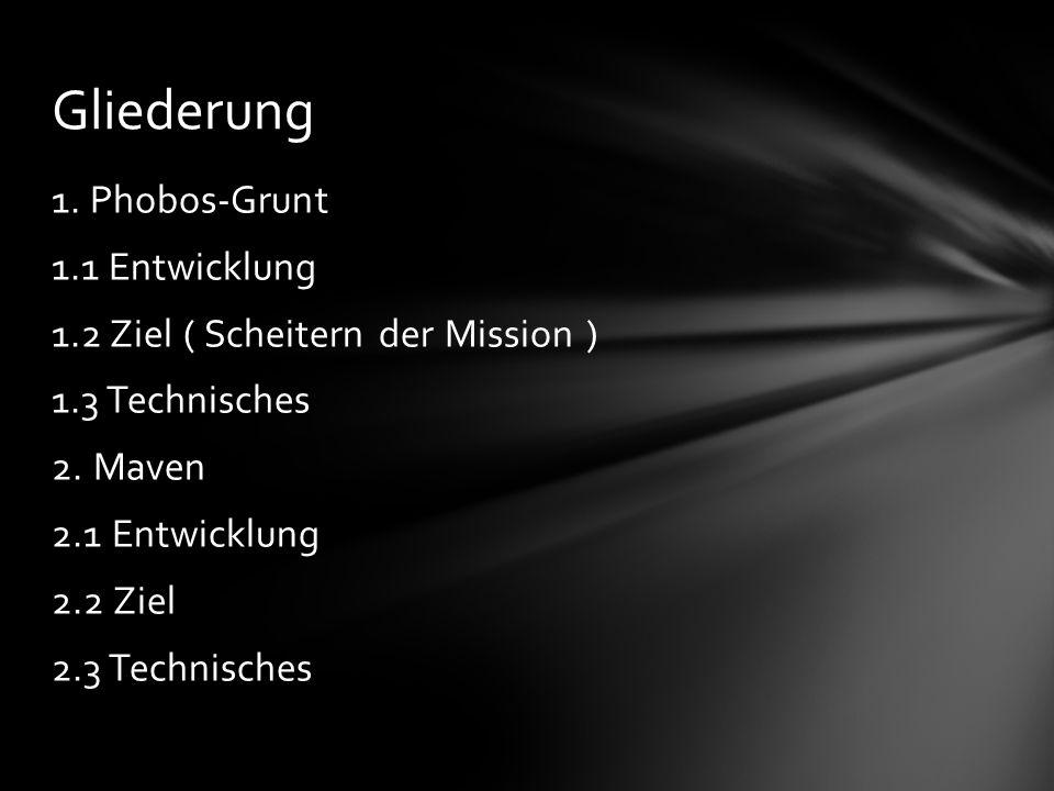 1. Phobos-Grunt 1.1 Entwicklung 1.2 Ziel ( Scheitern der Mission ) 1.3 Technisches 2.