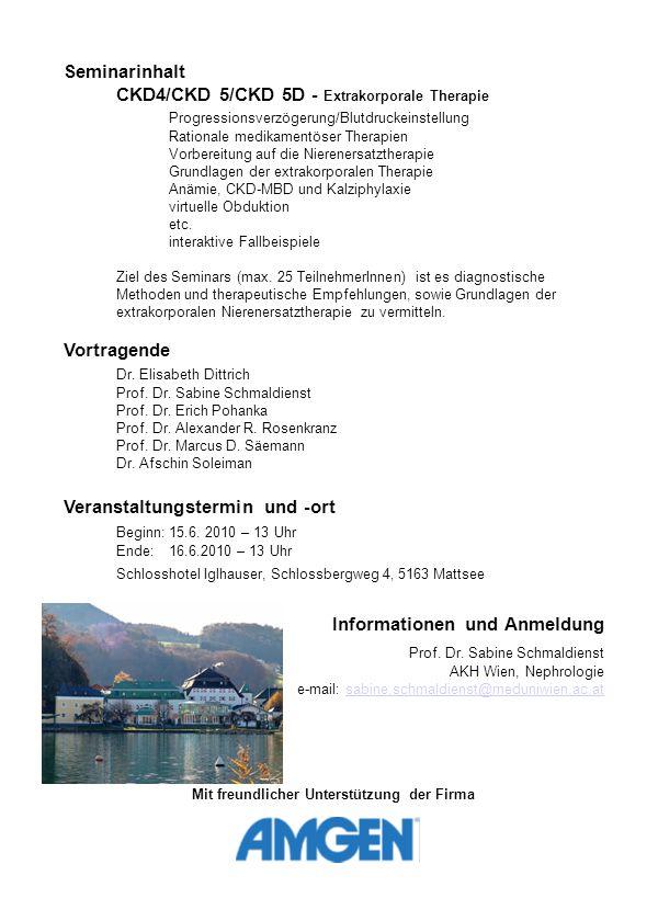 """Programm Freitag, 15.6.2011 13.00-14.00hWelcome und Erfrischungen mit Brötchen für die Angereisten 14.00-14.45hWas Sie schon immer über FLUX wissen wollten (Pohanka) 14.45-15.15hJenseits von Heparin (Schmaldienst) 15.15-16.00hGood Will Shunting (Dittrich) 16.00-16.30hPause 16.30-17.00hESA´s Werk und Eisen´s Beitrag (Rosenkranz) 17.00-17.30hKalk in meiner Haut (Soleiman) 17.30-18.45Wer früher stirbt ist länger tot (Soleiman) 20.00hAbendessen Samstag, 16.6.2011 9.00-9.45hUnder Pressure (Schmaldienst) 9.45-10.15hSchlag den RAAS (Säemann) 10.15-11.00hKalk aber herzlich (Rosenkranz, Schmaldienst) 11.00-11.30hPause 11.30-13.00hInteraktive Falldiskussionen – Das """"Nephron -Spiel Kleingruppen: Die Anamnese wird präsentiert."""