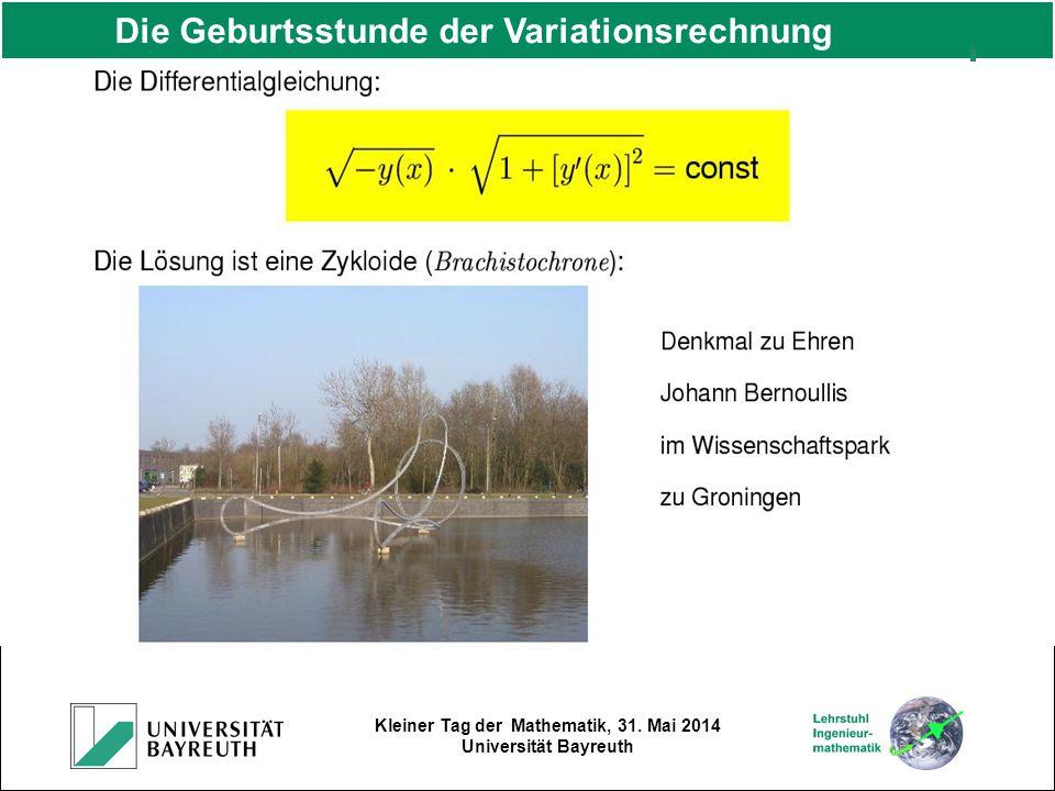 Kleiner Tag der Mathematik, 31. Mai 2014 Universität Bayreuth Die Geburtsstunde der Variationsrechnung