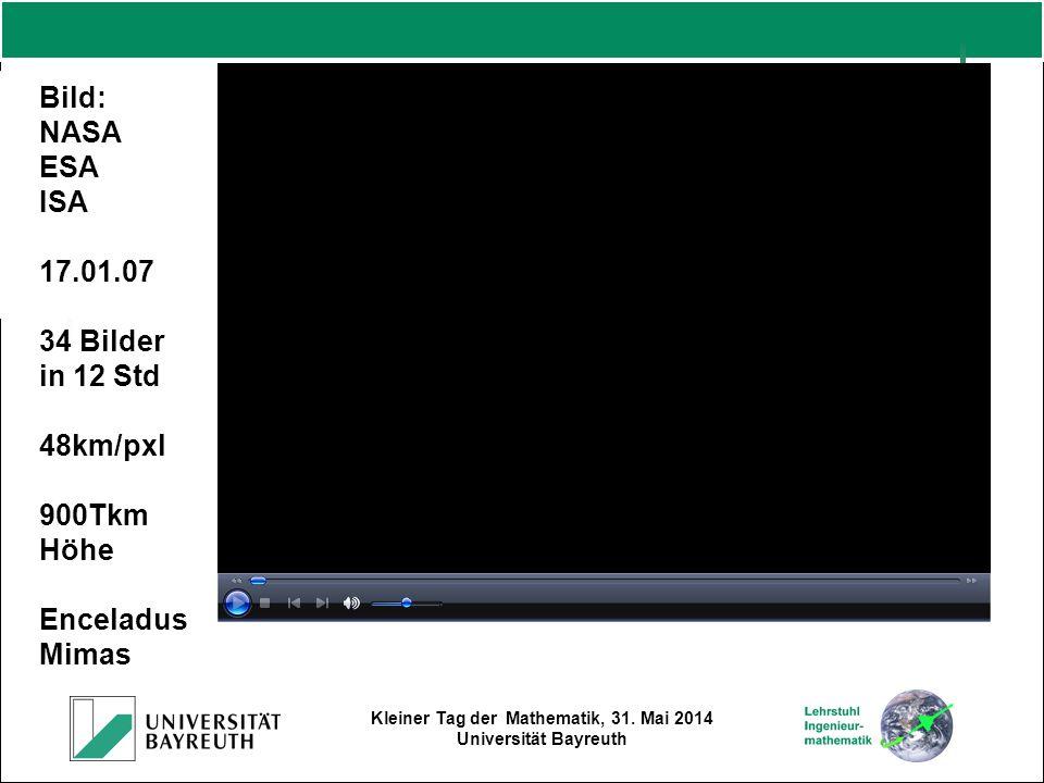 Kleiner Tag der Mathematik, 31. Mai 2014 Universität Bayreuth Bild: NASA ESA ISA 17.01.07 34 Bilder in 12 Std 48km/pxl 900Tkm Höhe Enceladus Mimas