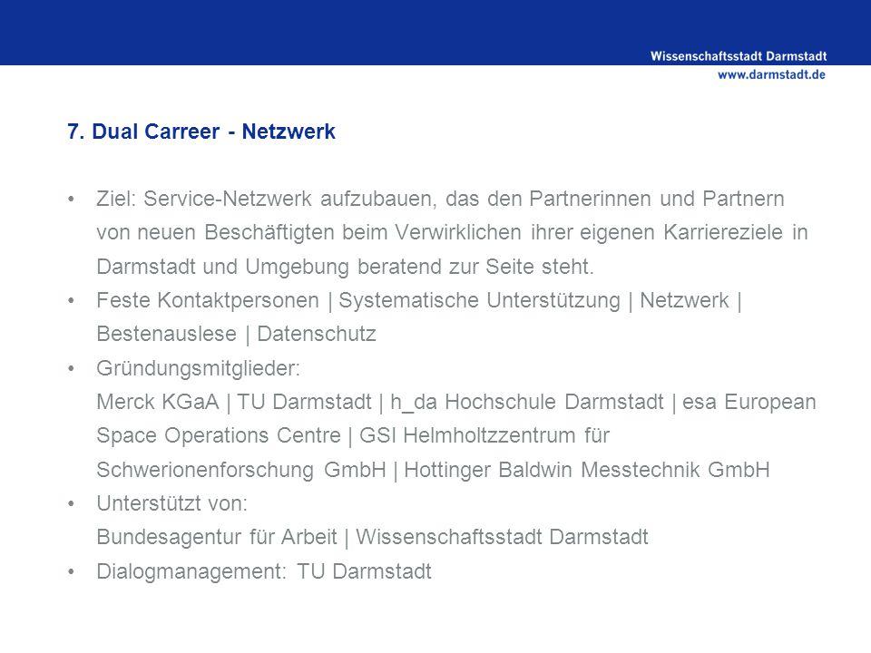 7. Dual Carreer - Netzwerk Ziel: Service-Netzwerk aufzubauen, das den Partnerinnen und Partnern von neuen Beschäftigten beim Verwirklichen ihrer eigen