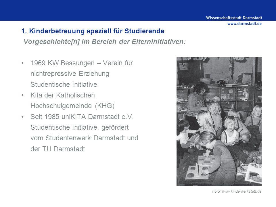 1. Kinderbetreuung speziell für Studierende Vorgeschichte[n] im Bereich der Elterninitiativen: 1969 KW Bessungen – Verein für nichtrepressive Erziehun
