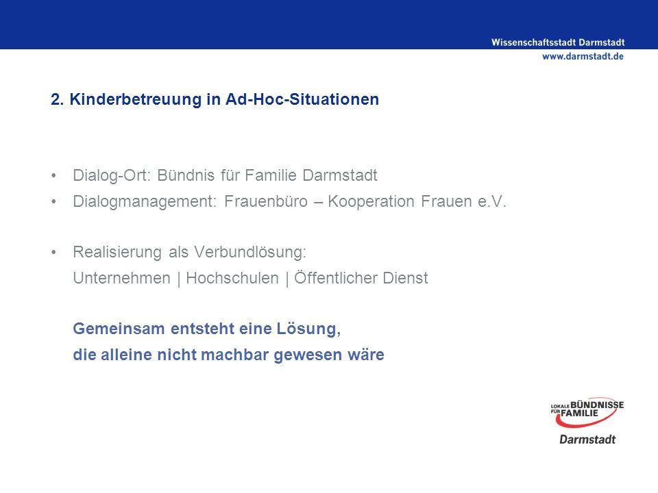 2. Kinderbetreuung in Ad-Hoc-Situationen Dialog-Ort: Bündnis für Familie Darmstadt Dialogmanagement: Frauenbüro – Kooperation Frauen e.V. Realisierung