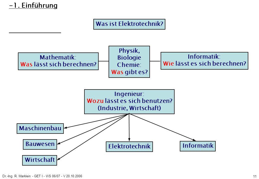 Dr.-Ing. R. Marklein - GET I - WS 06/07 - V 20.10.2006 11 -1. Einführung Was ist Elektrotechnik? Mathematik: Was lässt sich berechnen? Physik, Biologi