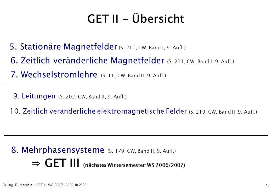 Dr.-Ing. R. Marklein - GET I - WS 06/07 - V 20.10.2006 13 GET II - Übersicht 5.