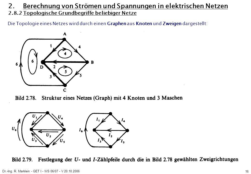Dr.-Ing. R. Marklein - GET I - WS 06/07 - V 20.10.2006 16 2. Berechnung von Strömen und Spannungen in elektrischen Netzen 2.8.2 Topologische Grundbegr