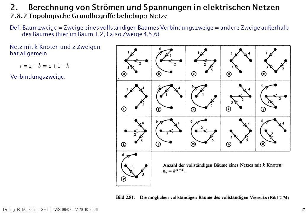 Dr.-Ing. R. Marklein - GET I - WS 06/07 - V 20.10.2006 17 2. Berechnung von Strömen und Spannungen in elektrischen Netzen 2.8.2 Topologische Grundbegr