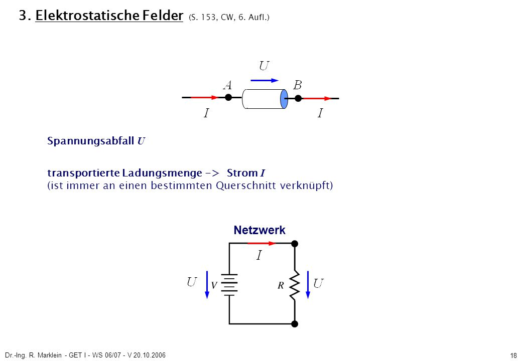 Dr.-Ing. R. Marklein - GET I - WS 06/07 - V 20.10.2006 18 3. Elektrostatische Felder (S. 153, CW, 6. Aufl.) Spannungsabfall U transportierte Ladungsme