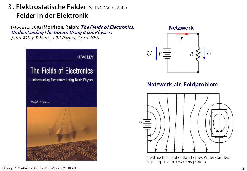 Dr.-Ing. R. Marklein - GET I - WS 06/07 - V 20.10.2006 19 3. Elektrostatische Felder (S. 153, CW, 6. Aufl.) Felder in der Elektronik Netzwerk Netzwerk