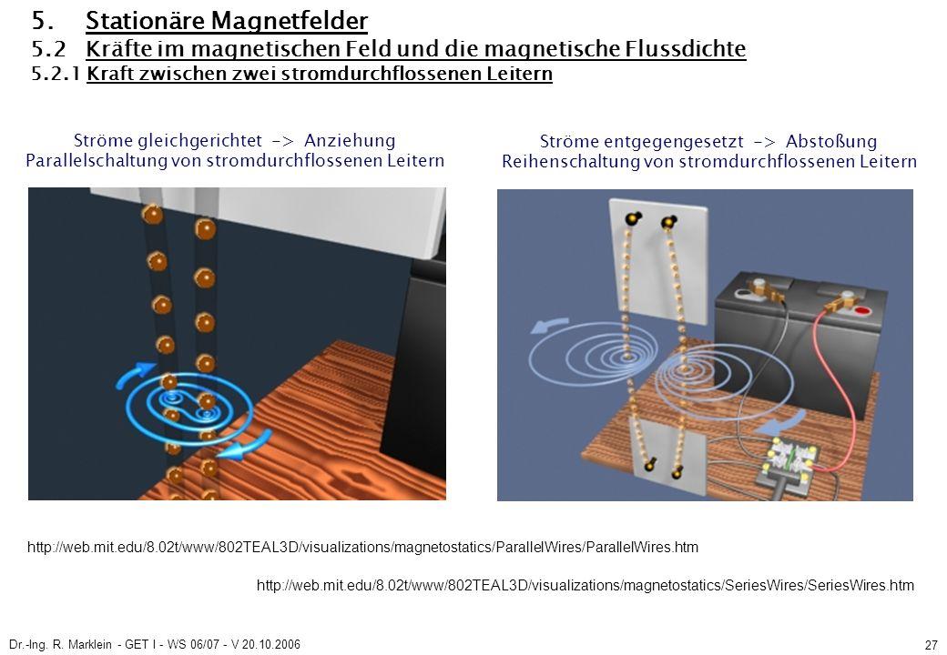 Dr.-Ing. R. Marklein - GET I - WS 06/07 - V 20.10.2006 27 5. Stationäre Magnetfelder 5.2 Kräfte im magnetischen Feld und die magnetische Flussdichte 5