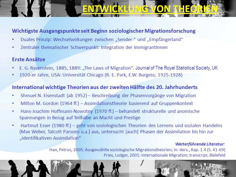 """Wichtigste Ausgangspunkte seit Beginn soziologischer Migrationsforschung Duales Prinzip: Wechselwirkungen zwischen """"Sender-"""" und """"Empfängerland"""" Zentr"""
