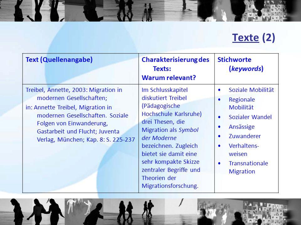 Texte (2) Text (Quellenangabe)Charakterisierung des Texts: Warum relevant? Stichworte (keywords) Treibel, Annette, 2003: Migration in modernen Gesells