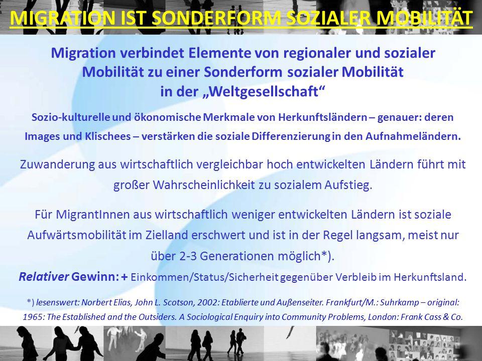 """Migration verbindet Elemente von regionaler und sozialer Mobilität zu einer Sonderform sozialer Mobilität in der """"Weltgesellschaft"""" Sozio-kulturelle u"""
