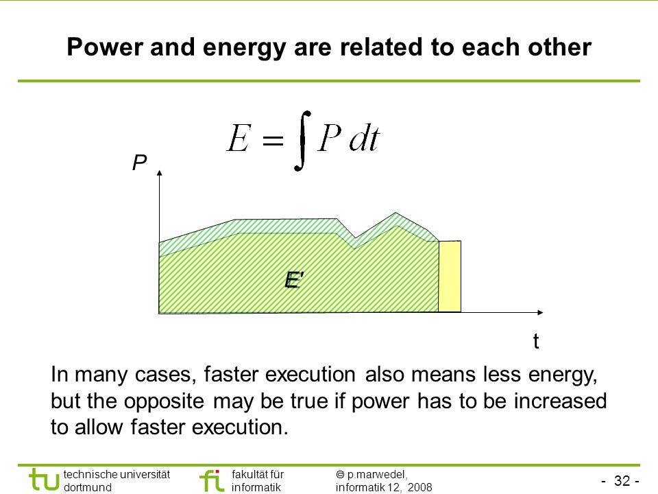 - 32 - technische universität dortmund fakultät für informatik  p.marwedel, informatik 12, 2008 TU Dortmund Power and energy are related to each other t P E In many cases, faster execution also means less energy, but the opposite may be true if power has to be increased to allow faster execution.