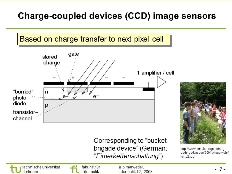 - 8 - technische universität dortmund fakultät für informatik  p.marwedel, informatik 12, 2008 TU Dortmund CMOS image sensors Based on standard production process for CMOS chips, allows integration with other components.