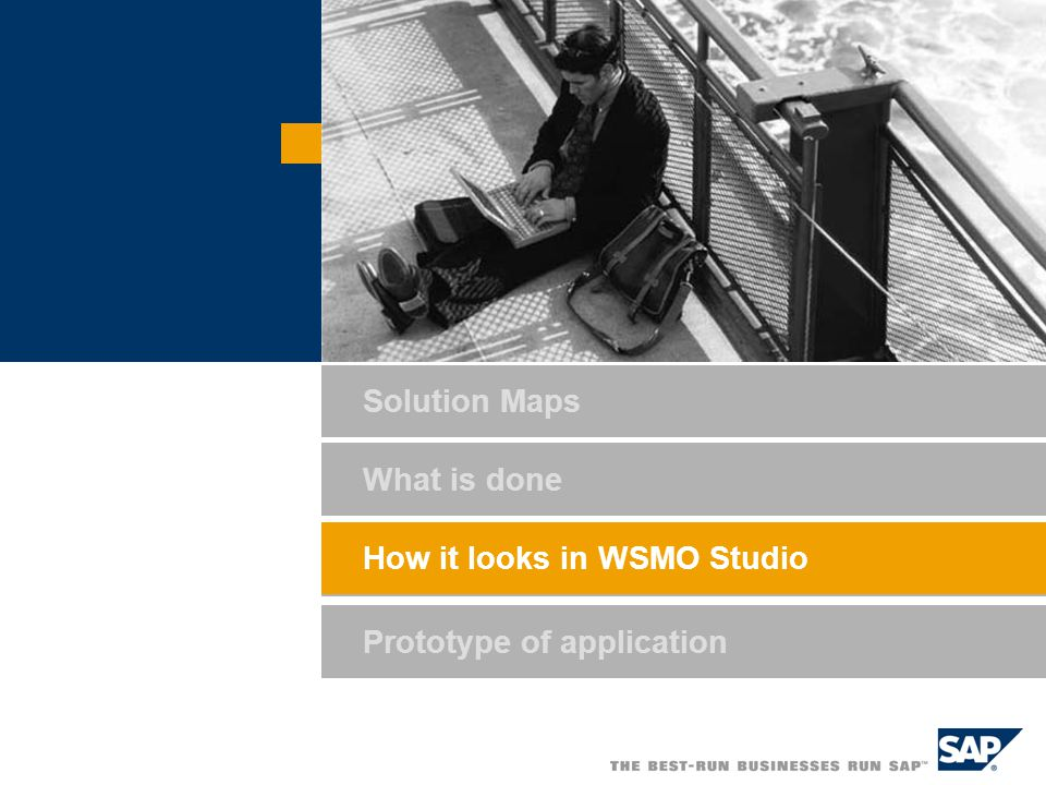 How it looks in WSMO Studio Prototype of application What is done How it looks in WSMO Studio Solution Maps
