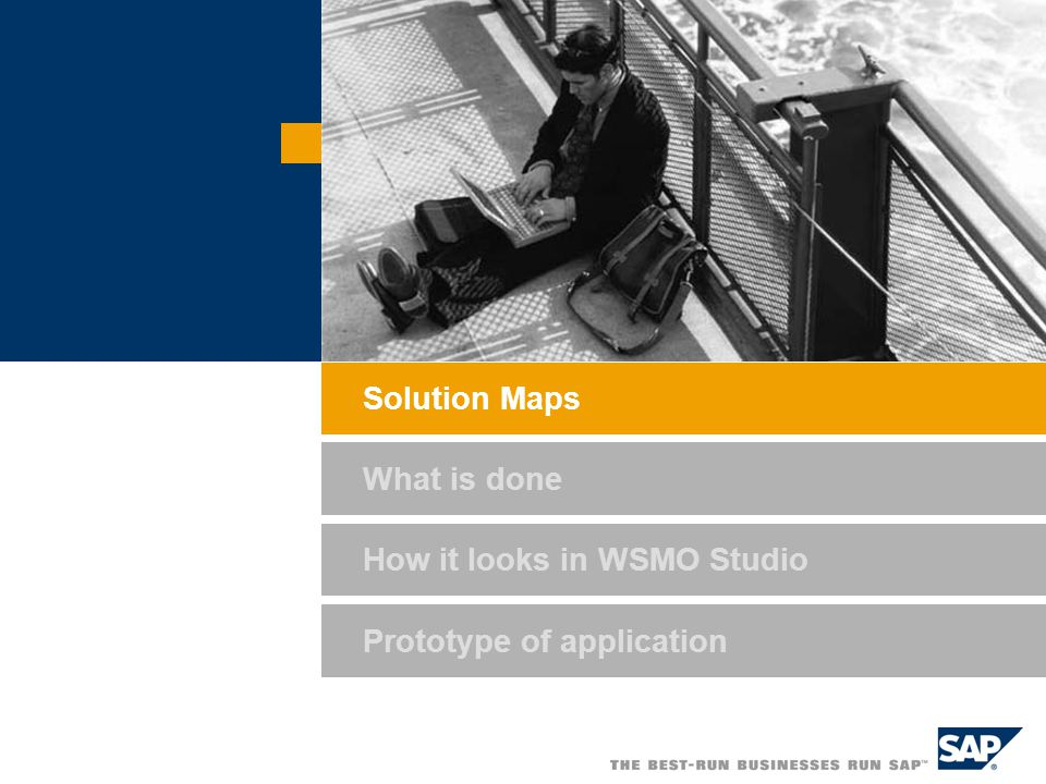 How it looks in WSMO Studio Prototype of application Solution Maps What is done