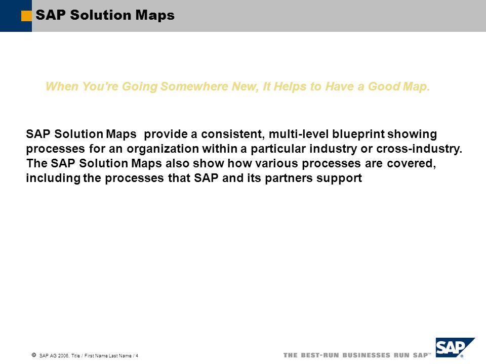  SAP AG 2006, Title / First Name Last Name / 5 Telecommunications – Solution Map, 1 Suppliers & Partners Customers & Channels Design & Build Infrastructure Operate InfrastructureDevelop & Promote Products & Services Sell & FulfillBill & CollectAssist Customers Enterprise Management & Support Network Life-Cycle Management Demand and Supply Planning Investment Management Network Design and Build Operations and Maintenance Marketing Analytics & Product Management Product Planning and Prioritization Project Management Product Development Marketing & Campaign Management Churn Management Sales & Service Fulfillment Lead and Opportunity Management Sales and Order Management Customer Field Service Management Logistics Management Dealer Management Dealer Lifecycle Management Dealer Operations Management Incentive and Commission Management Forecasting and Replenishment Billing, Invoicing & Presentment Billing Invoicing and Presentment Customer Financial Management Receivables and Collections Management Financial Customer Care and Dispute Management Reconciliation and Closing Auditing Customer Service Customer Trouble Management Complaints and Returns Management Customer Field Service Management
