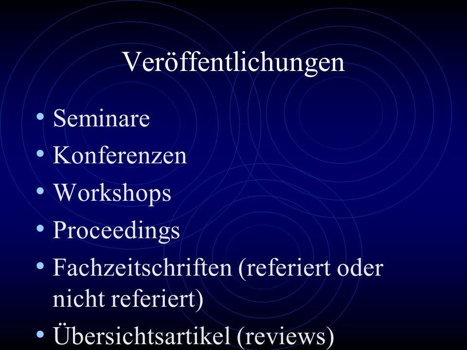 Veröffentlichungen Seminare Konferenzen Workshops Proceedings Fachzeitschriften (referiert oder nicht referiert) Übersichtsartikel (reviews) Lehrbücher