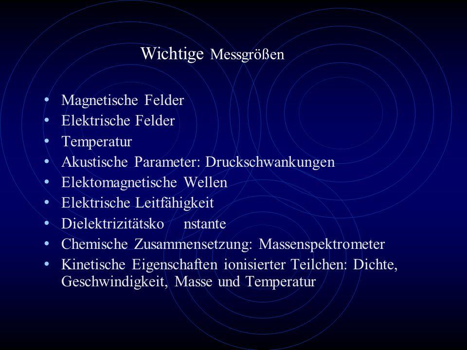 Wichtige Messgrößen Magnetische Felder Elektrische Felder Temperatur Akustische Parameter: Druckschwankungen Elektomagnetische Wellen Elektrische Leitfähigkeit Dielektrizitätskonstante Chemische Zusammensetzung: Massenspektrometer Kinetische Eigenschaften ionisierter Teilchen: Dichte, Geschwindigkeit, Masse und Temperatur