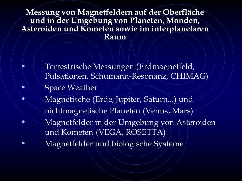 Messung von Magnetfeldern auf der Oberfläche und in der Umgebung von Planeten, Monden, Asteroiden und Kometen sowie im interplanetaren Raum Terrestrische Messungen (Erdmagnetfeld, Pulsationen, Schumann-Resonanz, CHIMAG) Space Weather Magnetische (Erde, Jupiter, Saturn...) und nichtmagnetische Planeten (Venus, Mars) Magnetfelder in der Umgebung von Asteroiden und Kometen (VEGA, ROSETTA) Magnetfelder und biologische Systeme