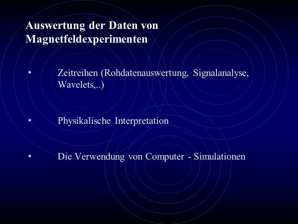 Auswertung der Daten von Magnetfeldexperimenten Zeitreihen (Rohdatenauswertung, Signalanalyse, Wavelets,..) Physikalische Interpretation Die Verwendun