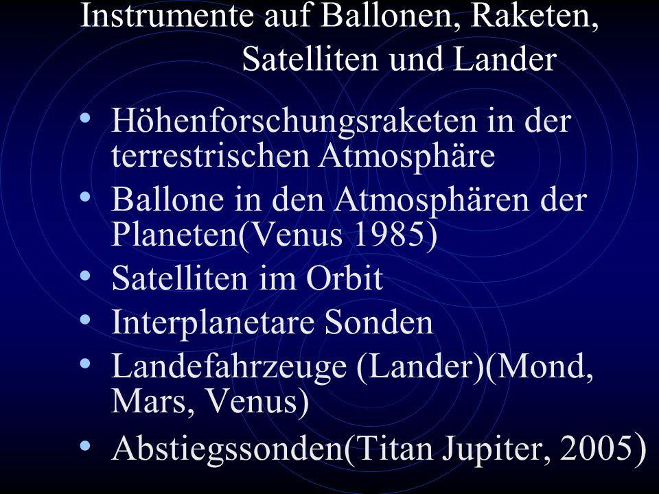 Instrumente auf Ballonen, Raketen, Satelliten und Lander Höhenforschungsraketen in der terrestrischen Atmosphäre Ballone in den Atmosphären der Planeten(Venus 1985) Satelliten im Orbit Interplanetare Sonden Landefahrzeuge (Lander)(Mond, Mars, Venus) Abstiegssonden(Titan Jupiter, 2005 )