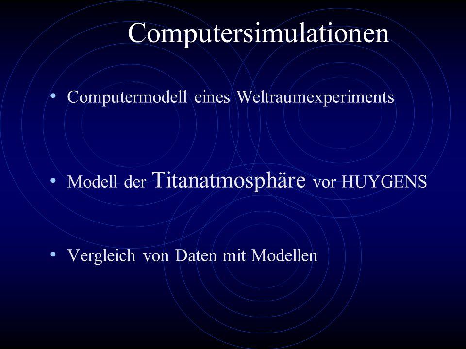 Computersimulationen Computermodell eines Weltraumexperiments Modell der Titanatmosphäre vor HUYGENS Vergleich von Daten mit Modellen