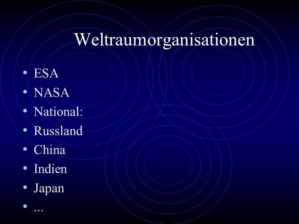 Weltraumorganisationen ESA NASA National: Russland China Indien Japan...