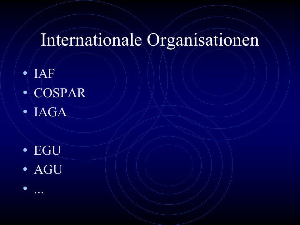 Internationale Organisationen IAF COSPAR IAGA EGU AGU...