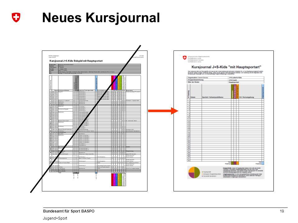 19 Bundesamt für Sport BASPO Jugend+Sport Neues Kursjournal