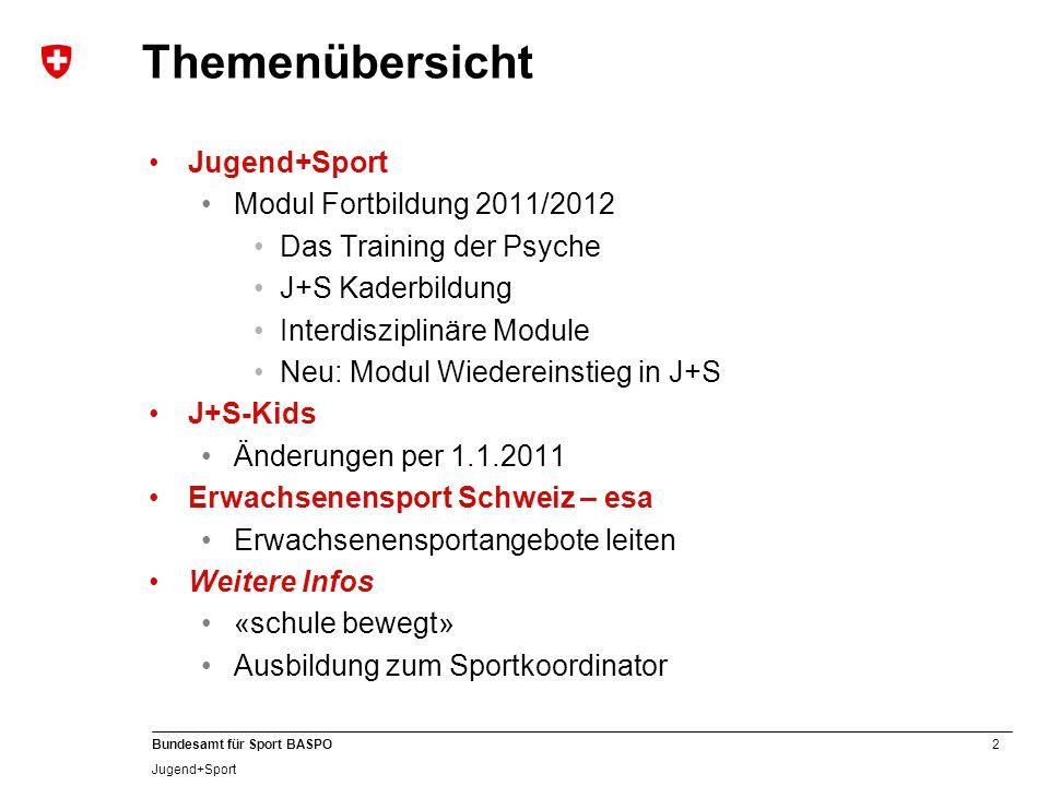 2 Bundesamt für Sport BASPO Jugend+Sport Modul Fortbildung 2011/2012 Das Training der Psyche J+S Kaderbildung Interdisziplinäre Module Neu: Modul Wied