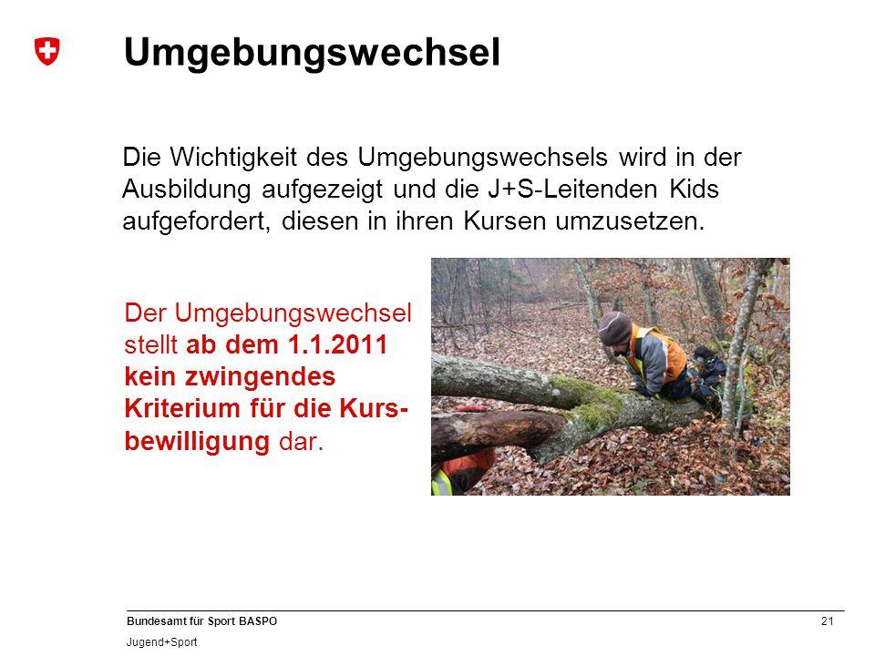 21 Bundesamt für Sport BASPO Jugend+Sport Umgebungswechsel Der Umgebungswechsel stellt ab dem 1.1.2011 kein zwingendes Kriterium für die Kurs- bewilli