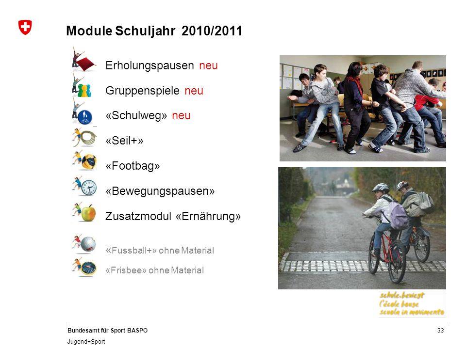 33 Bundesamt für Sport BASPO Jugend+Sport Erholungspausen neu Gruppenspiele neu «Schulweg» neu «Seil+» «Footbag» «Bewegungspausen» Zusatzmodul «Ernähr