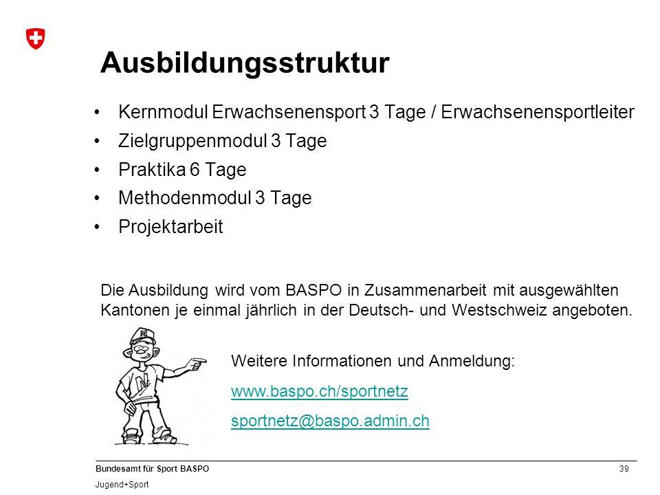 39 Bundesamt für Sport BASPO Jugend+Sport Ausbildungsstruktur Kernmodul Erwachsenensport 3 Tage / Erwachsenensportleiter Zielgruppenmodul 3 Tage Prakt