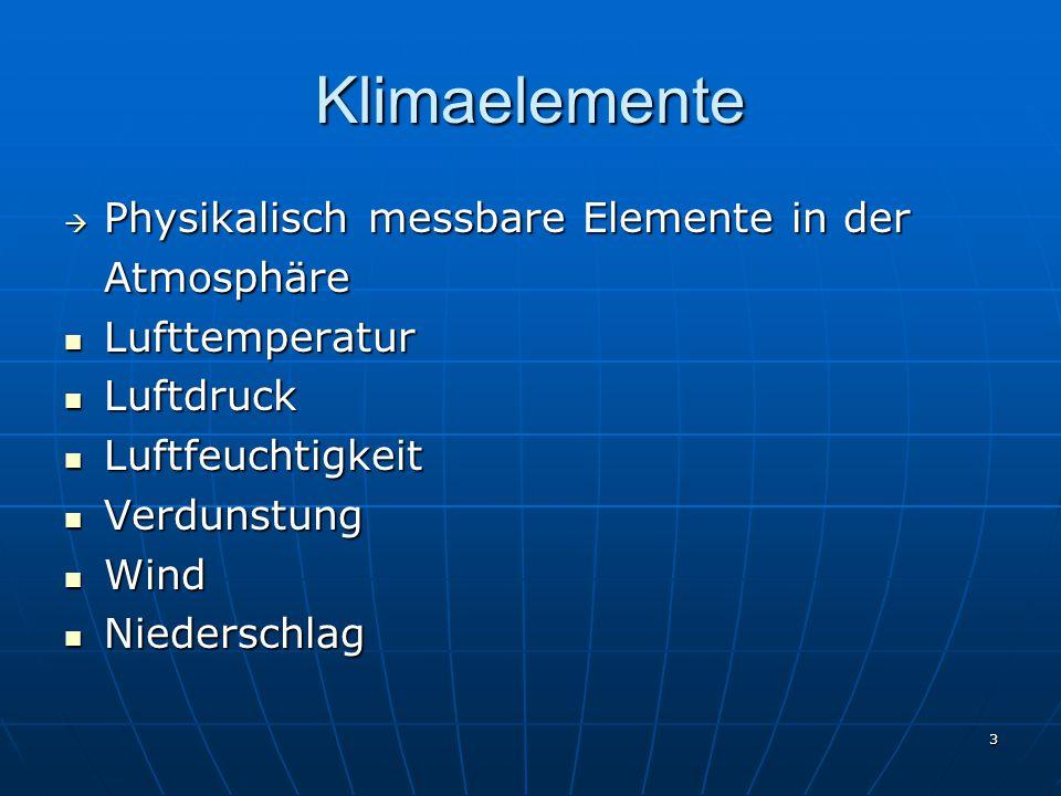 4 Lufttemperatur Temperatur der bodennahen Atmosphäre, die nicht Sonnenstrahlung, Bodenwärme, Wärmeleitung (z.B.