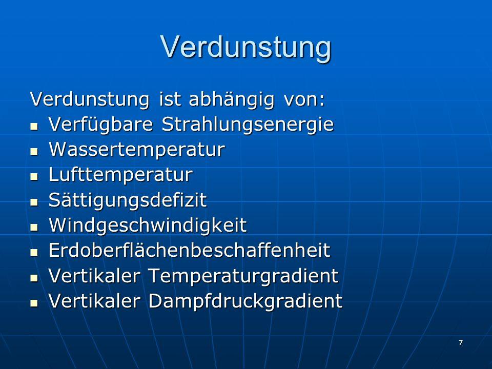 8 Humidität und Aridität Abgrenzungen: Zahlreiche empirische Abgrenzungen (siehe Tabelle Vorlesung) Zahlreiche empirische Abgrenzungen (siehe Tabelle Vorlesung) Klimatische Wasserbilanz Klimatische Wasserbilanz W k = N – pV = 0 Strahlungstrockenheitsindex nach Budyko Strahlungstrockenheitsindex nach Budyko I< 1  humid I 1-2  arid I > 2  vollarid