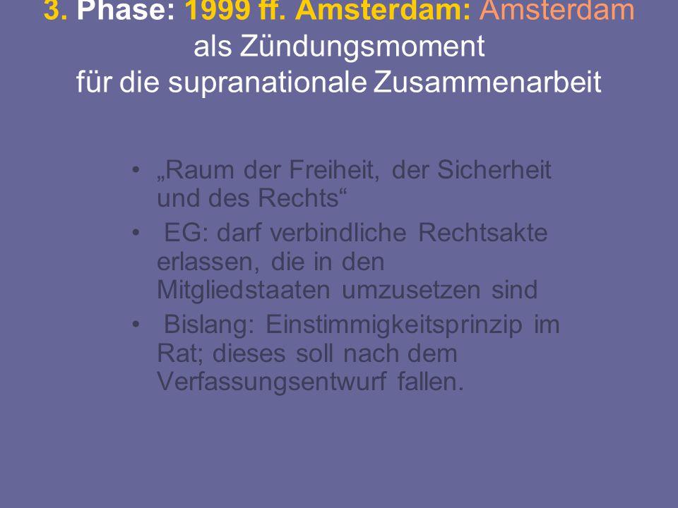 """3. Phase: 1999 ff. Amsterdam: Amsterdam als Zündungsmoment für die supranationale Zusammenarbeit """"Raum der Freiheit, der Sicherheit und des Rechts"""" EG"""