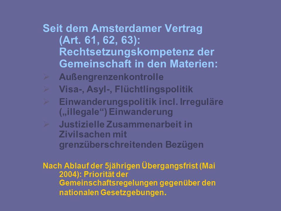 Seit dem Amsterdamer Vertrag (Art. 61, 62, 63): Rechtsetzungskompetenz der Gemeinschaft in den Materien:  Außengrenzenkontrolle  Visa-, Asyl-, Flüch