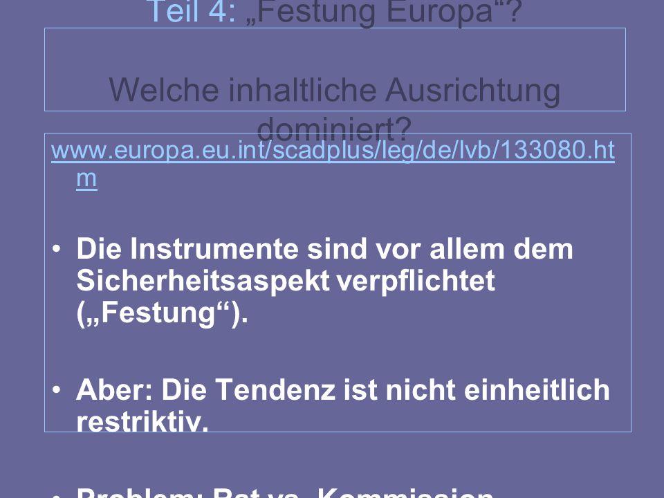 """Teil 4: """"Festung Europa""""? Welche inhaltliche Ausrichtung dominiert? www.europa.eu.int/scadplus/leg/de/lvb/133080.ht m Die Instrumente sind vor allem d"""